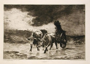 The storm , 1877 etching, private collection.